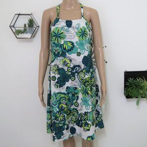 Prana Green and White Floral Cotton Sundress M